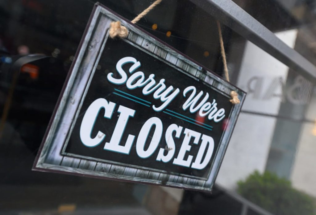 Business closed because of Covic-19